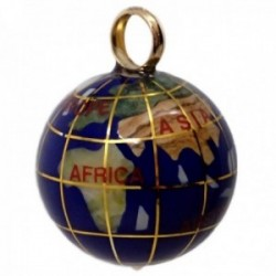 Colgante oro 18k bola del mundo 20mm. Lapislázuli nombres continentes meridianos asa lisa