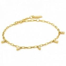 Pulsera Ania Haie plata Ley 925m chapada oro 14k colección Glow Getter charm circonitas rectangular