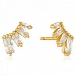 Pendientes Ania Haie plata Ley 925m chapada oro 14k colección Glow Getter circonitas rectangulares