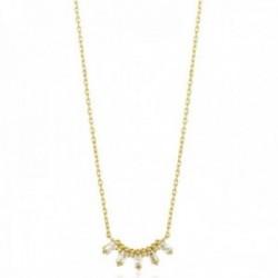 Gargantilla Ania Haie plata Ley 925m chapada oro 14k colección Glow Getter circonitas rectangulares