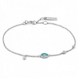 Pulsera Ania Haie plata Ley 925m rodiada colección Mineral Glow detalle turquesa chapas