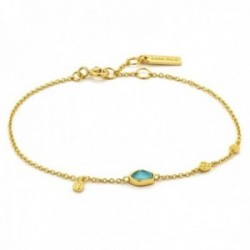 Pulsera Ania Haie plata Ley 925m chapada oro 14k colección Mineral Glow detalle turquesa chapas