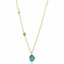 Gargantilla Ania Haie plata Ley 925m chapada oro 14k colección Mineral Glow detalle turquesa chapas