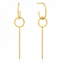 Pendientes Ania Haie plata Ley 925m chapada oro 14k colección Modern Minimalism aros barra