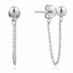 Pendientes Ania Haie plata Ley 925m rodiada colección Modern Minimalism bola ear jacket cadena