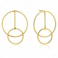 Pendientes Ania Haie plata Ley 925m chapada oro 14k colección Modern Minimalism doble aros cadena