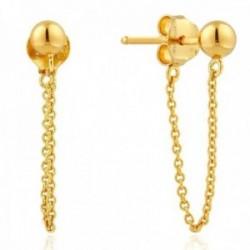 Pendientes Ania Haie plata Ley 925m baño oro 14k colección Modern Minimalism bola ear jacket cadena