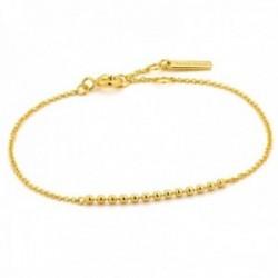 Pulsera Ania Haie plata Ley 925m chapada oro 14k colección Modern Minimalism bolas lisas cadena