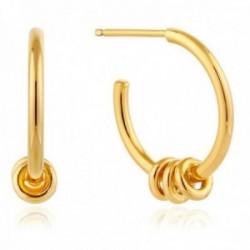 Pendientes Ania Haie plata Ley 925m chapada oro 14k colección Modern Minimalism aro arandelas