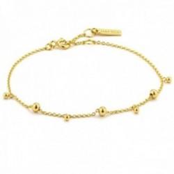 Pulsera Ania Haie plata Ley 925m chapada oro 14k colección Modern Minimalism bolas diferentes cadena