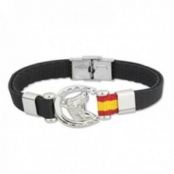 Pulsera acero inoxidable rodiado colección Soul Albero 21cm. herradura caballo bandera España