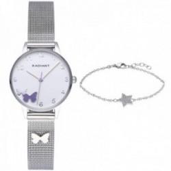 Pack reloj Radiant niña Icon RA555601 acero inoxidable mariposa malla milanesa pulsera estrella