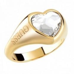 Sortija Guess From Guess With Love UBR70004 acero inoxidable chapado oro corazón cristal Swarovski