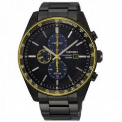 Reloj Seiko hombre SSC723P1 Solar acero inoxidable IP negro detalles amarillos