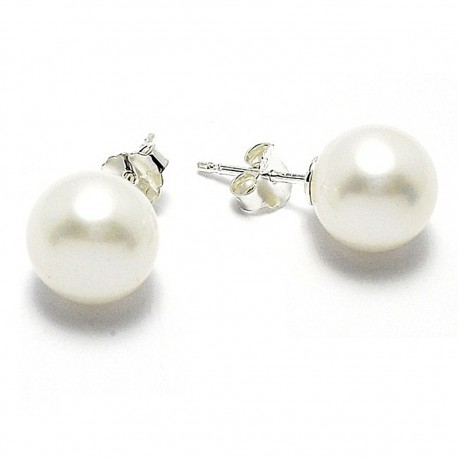 Pendientes plata perla cultivada [4843]