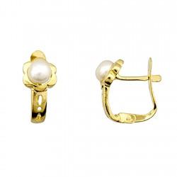 Pendiente plata Ley 925m chapada flor perla cultivada botón [5163P]
