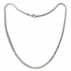 Cordón salomónico plata Ley 925m cadena 60cm. macizo ancho 4mm. liso cierre mosquetón