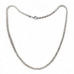 Cordón salomónico plata Ley 925m cadena 50cm. macizo ancho 4mm. liso cierre mosquetón
