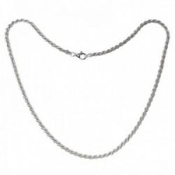 Cordón salomónico plata Ley 925m cadena 60cm. macizo ancho 3.5mm. liso cierre mosquetón