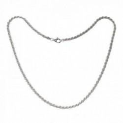Cordón salomónico plata Ley 925m cadena 50cm. macizo ancho 3.5mm. liso cierre mosquetón