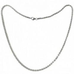Cordón salomónico plata Ley 925m cadena 60cm. macizo ancho 3mm. liso cierre mosquetón