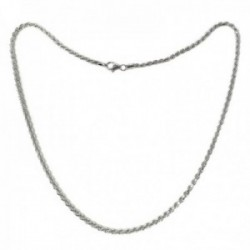 Cordón salomónico plata Ley 925m cadena 50cm. macizo ancho 3mm. liso cierre mosquetón