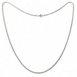 Cordón salomónico plata Ley 925m cadena 60cm. macizo ancho 2.5mm. liso cierre mosquetón