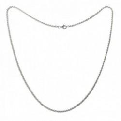 Cordón salomónico plata Ley 925m cadena 50cm. macizo ancho 2.5mm. liso cierre mosquetón
