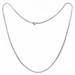 Cordón salomónico plata Ley 925m cadena 50cm. macizo ancho 1.75mm. liso cierre mosquetón