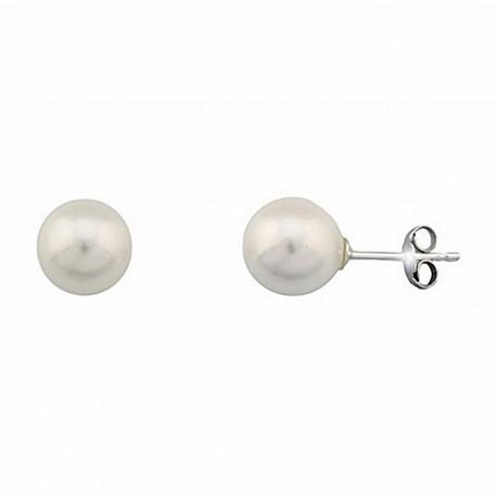 Pendientes plata Ley perla Shell 9 cierre presión [5206]