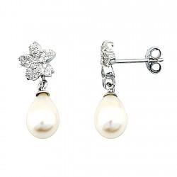 Pendientes largos plata Ley circonita perla cultivada lágrima [5209]