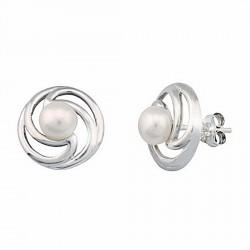 Pendientes plata Ley perla rodiado cierre presión [5359P]