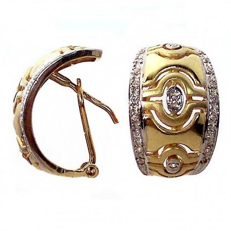 Pendiente oro 18k circonitas incrustadas oro blanco [383]