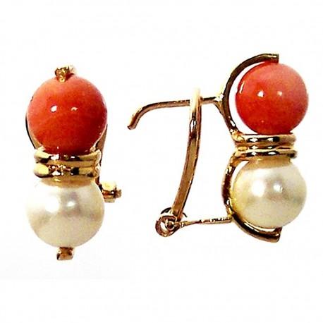 Pendiente oro 18k perlas cultivadas y coral cierre omega [682]