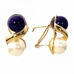 Pendiente oro 18k perla blanca y azul cierre omega [684]