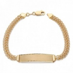 Esclava oro 18k modelo eslabón princesa 19cm. caraqueña chapa lisa borde tallado cierre mosquetón