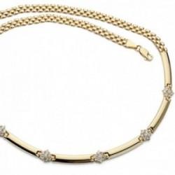 Gargantilla oro 18k mujer 45cm. centro barras entrepiezas circonitas cadena cierre mosquetón