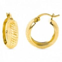 Pendientes oro 18k aros 17mm. huecos detalles tallados