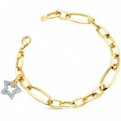 Pulsera oro bicolor 18k eslabones ovales 20cm. estrella circonitas colgando cierre mosquetón