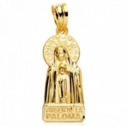 Colgante oro 18k silueta 22mm. Virgen de la Paloma detalles tallados