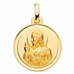 Medalla oro 18k escapulario 18mm. Virgen de las Angustias Corazón de Jesús cerco