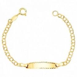 Esclava oro 18k bebé 11.5cm. cadena húngara chapa brillo borde tallado cierre reasa