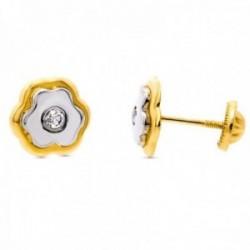 Pendientes oro bicolor 18k niña 8mm. trébol centro circonita cierre tuerca