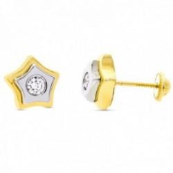 Pendientes oro bicolor 18k niña estrella 9mm. centro circonita cierre tuerca