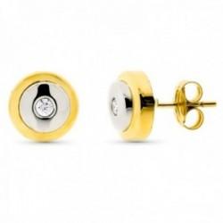 Pendientes oro bicolor 18k mujer redondos 8mm. centro circonita cierre presión