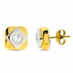 Pendientes oro bicolor 18k mujer cuadrados 8mm. centro circonita cierre presión