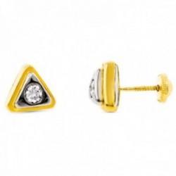 Pendientes oro bicolor 18k niña 8mm. triángulo centro circonita cierre tuerca