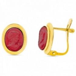 Pendientes oro 18k camafeo coralina 11mm. cierre catalán