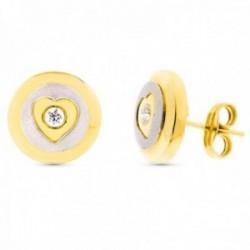 Pendientes oro bicolor 18k mate brillo 11mm. centro corazón circonita cierre presión