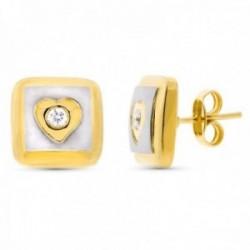 Pendientes oro bicolor 18k mate brillo 11mm. cuadrados centro corazón circonita cierre presión